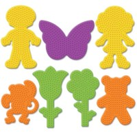Perler Beads Small Garden and Novelty Pegboards 7-Pack-Boy/ Girl/ Bear/ Monkey/ Butterfly /2 Flowers / Ironing Paper