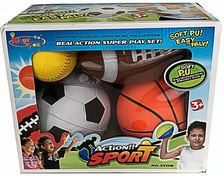 4-Pack Real Action Sports Ball Play Set