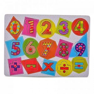 NEW Wooden Colorful Numbers Peg Puzzle