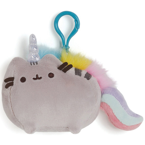 Gund - Pusheenicorn Backpack Clip Plush Figurine, Grey/Rainbow
