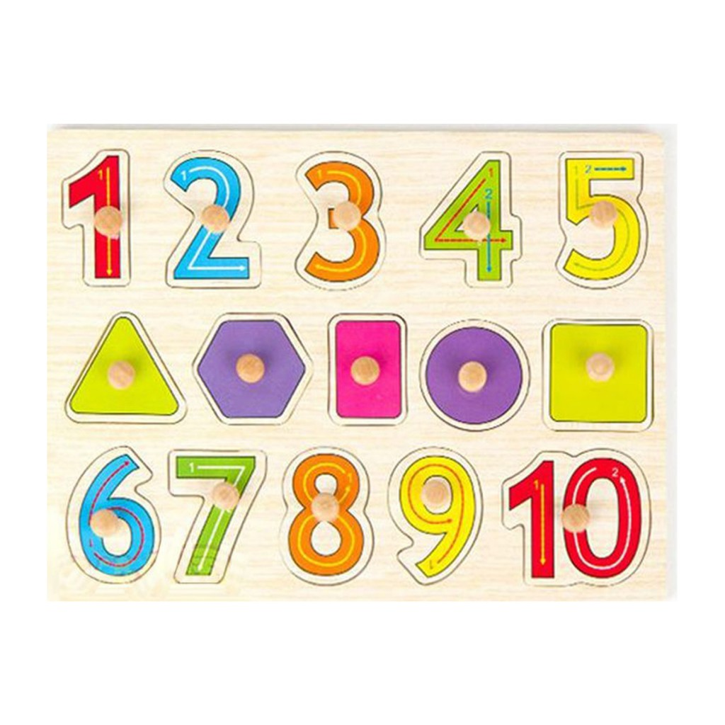 Young Mindz Wooden Shapes & Numbers Stroke Guide Puzzle